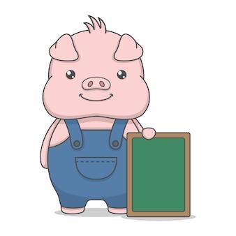 Śliczna świnia trzyma tablicę