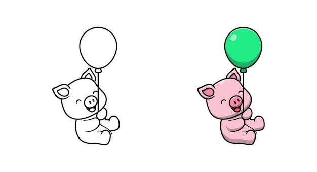Śliczna świnia trzymająca balon kreskówka kolorowanki dla dzieci