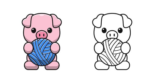 Śliczna świnia trzymająca piłkę kreskówki kolorowanki dla dzieci