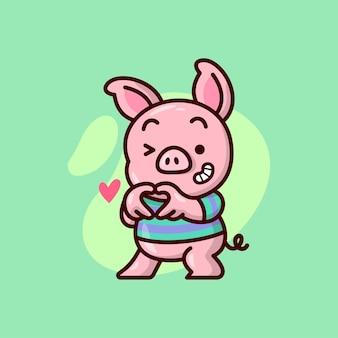 Śliczna świnia ubrana w zieloną koszulkę z fioletową linią, która dłońmi tworzy kształt serca. ilustracja na walentynki.