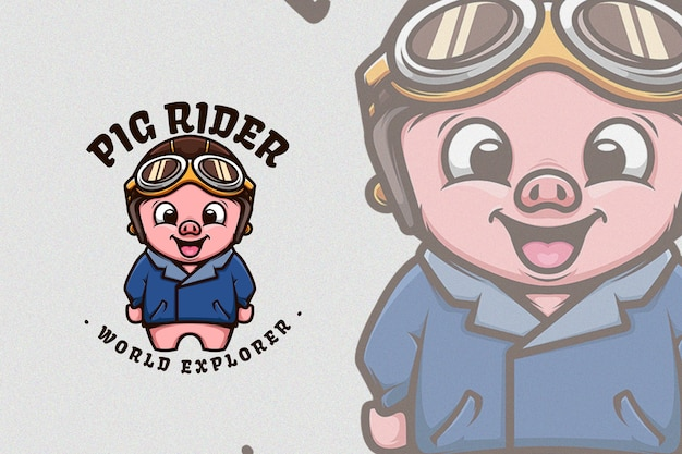 Śliczna świnia w klasycznej kurtce motocyklowej i hełmie