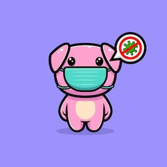 Śliczna świnia w masce w celu zapobiegania postaci maskotki wirusa