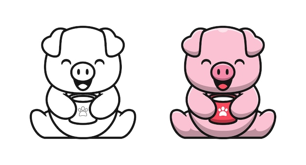 Śliczna świnia z kreskówkami do kolorowania kawy