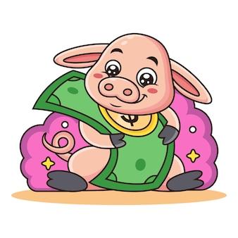 Śliczna świnia Z Kreskówki Pieniądze. Premium Wektorów