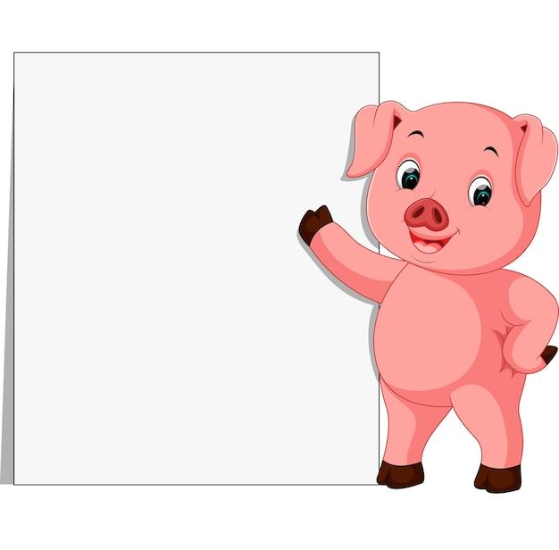 Śliczna świnia z pustym znakiem