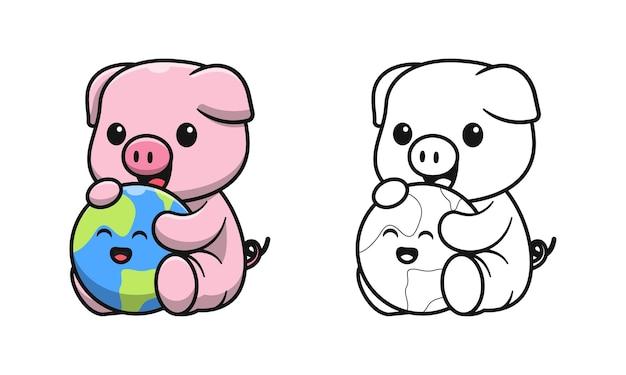 Śliczna świnia z rysunkami ziemi dla dzieci