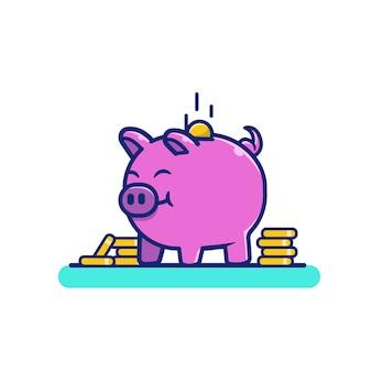 Śliczna świnia z złotych monet pieniądze kreskówki ikony ilustracją. zwierzę i biznesowy ikony pojęcie odizolowywający. płaski styl kreskówek