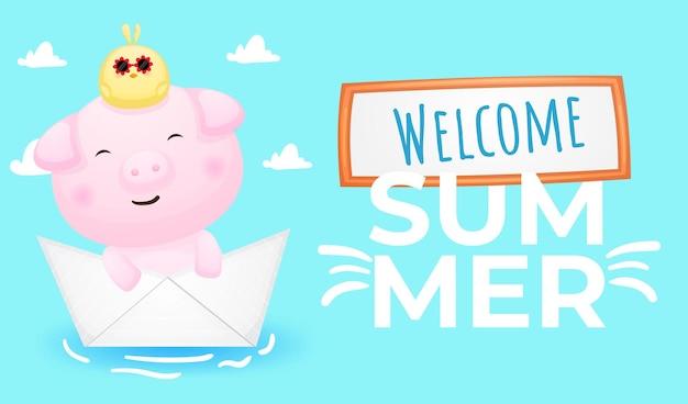 Śliczna świnka i pisklęta w papierowej łodzi z letnim banerem powitalnym