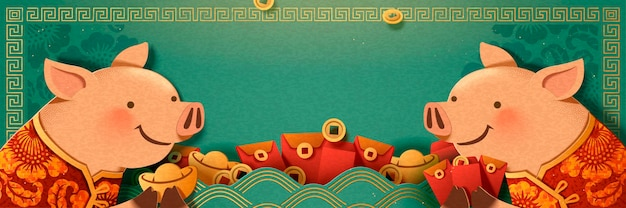 Śliczna świnka trzyma sztabki złota i projekt transparentu z czerwoną kopertą, puste turkusowe tło