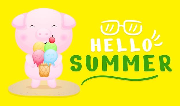 Śliczna świnka trzymająca lody z letnim banerem powitalnym