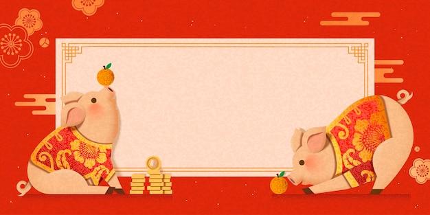 Śliczna świnka ubrana w tradycyjne stroje projekt transparentu nowego roku