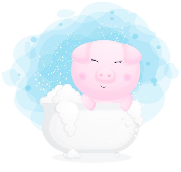 Śliczna świnka w kreskówce wanny