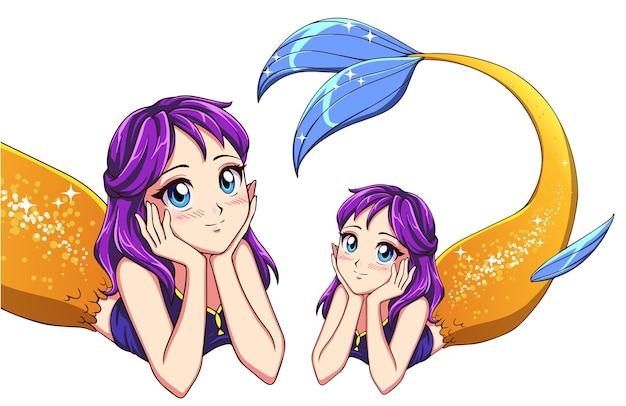 Śliczna syrena leżąca anime. fioletowe włosy i lśniący złoty rybi ogon. śliczne duże niebieskie oczy. ręcznie rysowane ilustracji wektorowych na projekt koszulki, szablon wydruku.