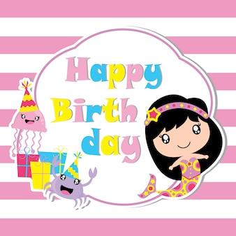 Śliczna syrenka, galaretka ryba i kraba z urodzinowym wektorem prezentu, kartka urodzinowa, tapeta i kartkę z życzeniami, koszulka dla dzieci