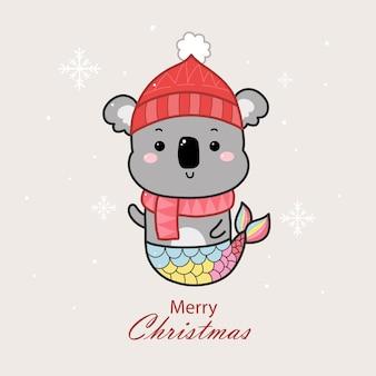 Śliczna syrenka koala kreskówka ręcznie rysowane na boże narodzenie.