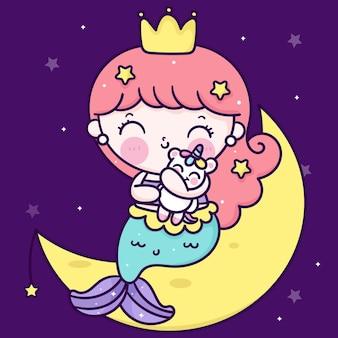 Śliczna syrenka księżniczka kreskówka przytulić jednorożca na księżycu kawaii zwierząt