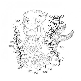 Śliczna syrenka pod morzem z gałęzatką
