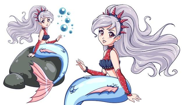Śliczna syrenka siedzi na skale. styl anime. białe włosy, niebieski ogon. ręcznie rysowane sztuki.