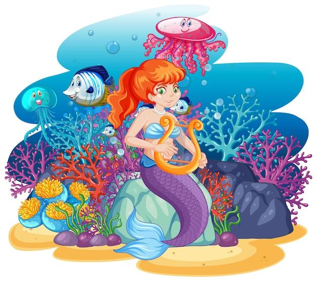 Śliczna syrenka ze zwierzęcym motywem morskim stylu kreskówki na białym tle