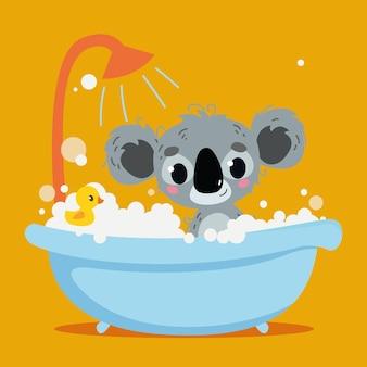 Śliczna szara koala kąpie się w wannie wnętrze pomarańczowego tła druk wektorowy postać z kreskówek