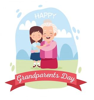 Śliczna szczęśliwa babcia z wnuczką w obozie