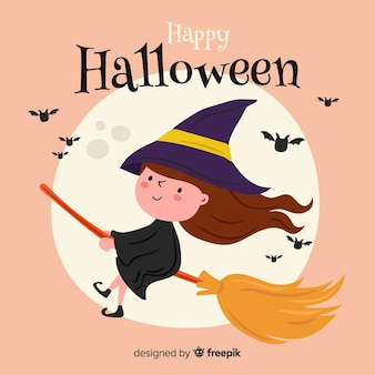 Śliczna szczęśliwa czarownica halloween