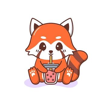 Śliczna szczęśliwa czerwona panda pije herbatę bąbelkową