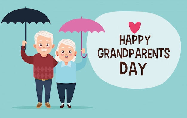 Śliczna szczęśliwa dziadek para z parasolami