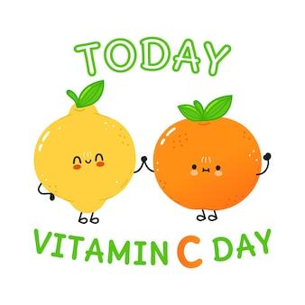 Śliczna szczęśliwa mandarynka i cytryna