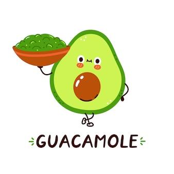 Śliczna, szczęśliwa miska z sosem guacamole z awokado