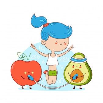 Śliczna szczęśliwa młoda kobieta skacze na arkanie z avocado i jabłkiem. ilustracja kreskówka postać naklejki. pojedynczo na białym tle. koncepcja diety ketonowej