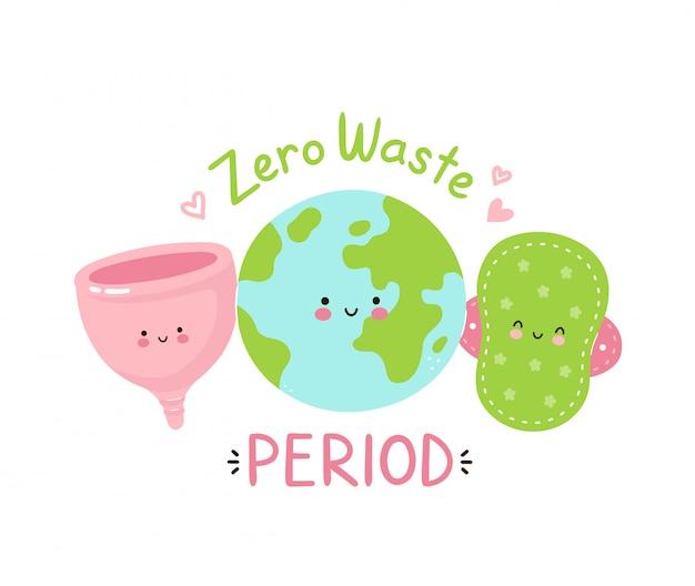 Śliczna szczęśliwa planeta ziemia, ściereczka i kubek menstruacyjny. zero okresu odpadów pojedynczo na białym. wektorowego postać z kreskówki ilustracyjny projekt, prosty mieszkanie styl. koncepcja okresu przyjaznego dla środowiska