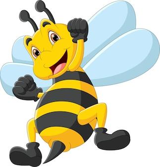 Śliczna szczęśliwa pszczoła kreskówka na białym