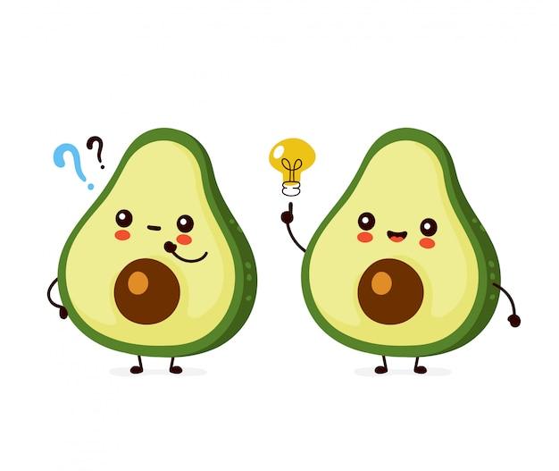 Śliczna szczęśliwa śmieszna avocado z znaka zapytania i pomysłu żarówką. postać z kreskówki ilustracyjny ikona projekt. odosobniony
