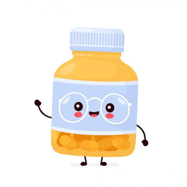 Śliczna szczęśliwa śmieszna butelka pigułki.