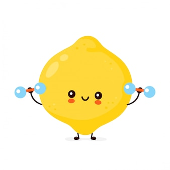Śliczna szczęśliwa śmieszna cytryny owoc z dumbbells. postać z kreskówki ilustracyjny ikona projekt. pojedynczy białe tło