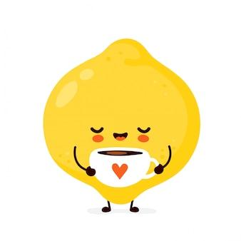 Śliczna szczęśliwa śmieszna cytryny owoc z herbacianą filiżanką. postać z kreskówki ilustracyjny ikona projekt. pojedynczy białe tło