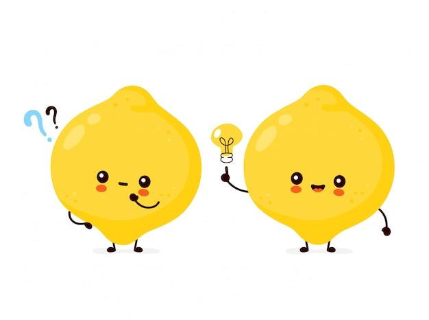 Śliczna szczęśliwa śmieszna cytryny owoc z znakiem zapytania i żarówką. postać z kreskówki ilustracyjny ikona projekt. odosobniony