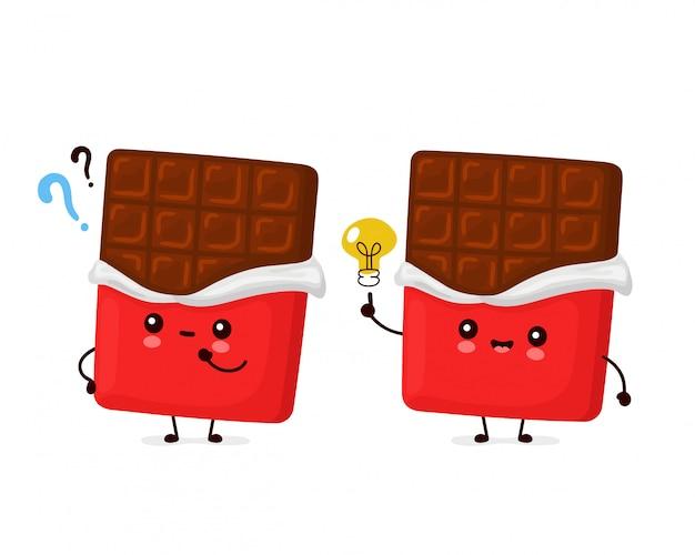 Śliczna szczęśliwa śmieszna czekoladowa tabliczka. postać z kreskówki ilustracyjny ikona projekt. odosobniony