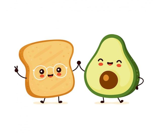 Śliczna szczęśliwa śmieszna grzanka i avocado. postać z kreskówki ilustracyjny ikona projekt. pojedynczy białe tło