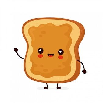 Śliczna szczęśliwa śmieszna grzanka z masłem orzechowym. postać z kreskówki ilustracyjny ikona projekt. odosobniony
