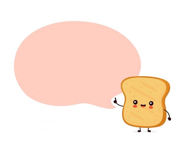 Śliczna szczęśliwa śmieszna grzanka z mowa bąblem. postać z kreskówki ilustracyjny ikona projekt. pojedynczy białe tło