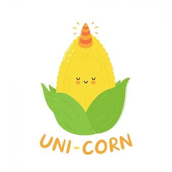 Śliczna szczęśliwa śmieszna kukurudza z jednorożec rogiem. postać z kreskówki ręki rysunku stylu ilustracja. pojedynczo na białym tle