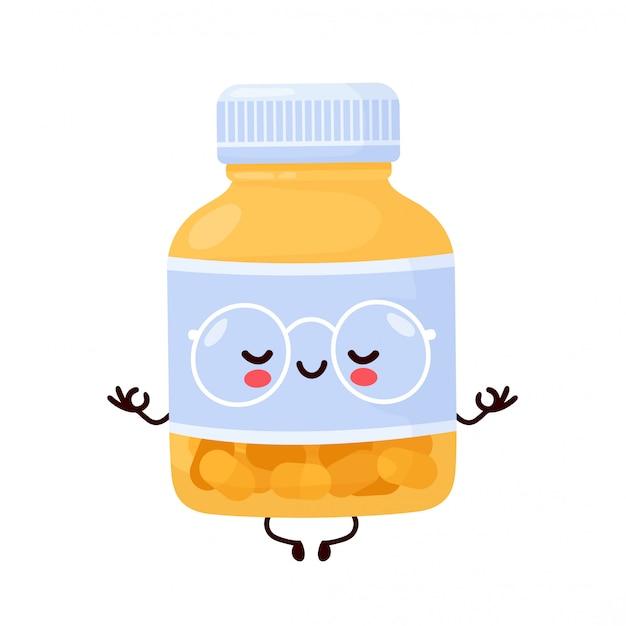 Śliczna szczęśliwa śmieszna pigułki butelka medytuje. postać z kreskówki ilustracyjny ikona projekt. odosobniony