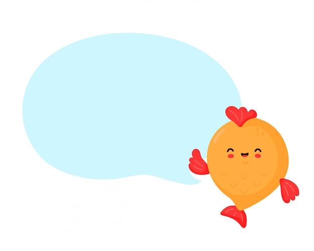 Śliczna szczęśliwa śmieszna ryba z mowa bąblem. wektor postać z kreskówki ilustracyjny projekt. odosobniony