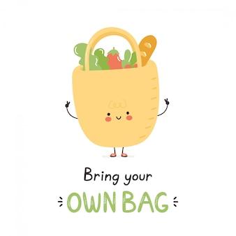 Śliczna szczęśliwa torba wielokrotnego użytku. pojedynczo na białym. wektorowego postać z kreskówki ilustracyjny projekt, prosty mieszkanie styl. ekologiczna koncepcja wielokrotnego użytku. przynieś własną kartę torby