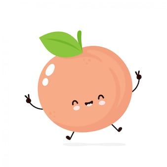 Śliczna szczęśliwa uśmiechnięta brzoskwinia. ilustracja kreskówka płaski. pojedynczo na białym tle. koncepcja owoców brzoskwini