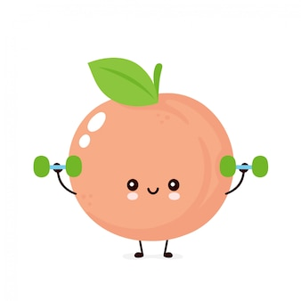 Śliczna szczęśliwa uśmiechnięta brzoskwinia z dumbells. ilustracja kreskówka płaski. pojedynczo na białym tle. koncepcja fitness owoców brzoskwini