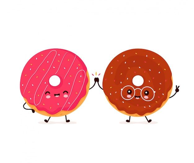 Śliczna szczęśliwa uśmiechnięta donuts para. płaska postać z kreskówki ilustracyjny projekt. odizolowywający na białym tle. przyjaciele pączki, koncepcja menu piekarni