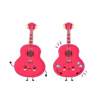 Śliczna szczęśliwa uśmiechnięta i smutna gitara ukulele. płaska postać z kreskówki ilustracyjny projekt. odizolowywający na białym tle. gitara ukulele, koncepcja maskotka muzyczna